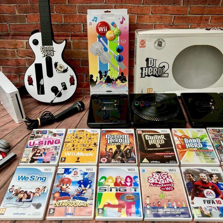 Nintendo Wii Bundle 14 Games Music Package Dj Decks X2 Guitar Mic Gift Present