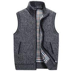 #Banggood Вскользь свободные трикотажные жилет зимний свитер без рукавов стоять воротник молния кардиган цвет 6 (1085807) #SuperDeals