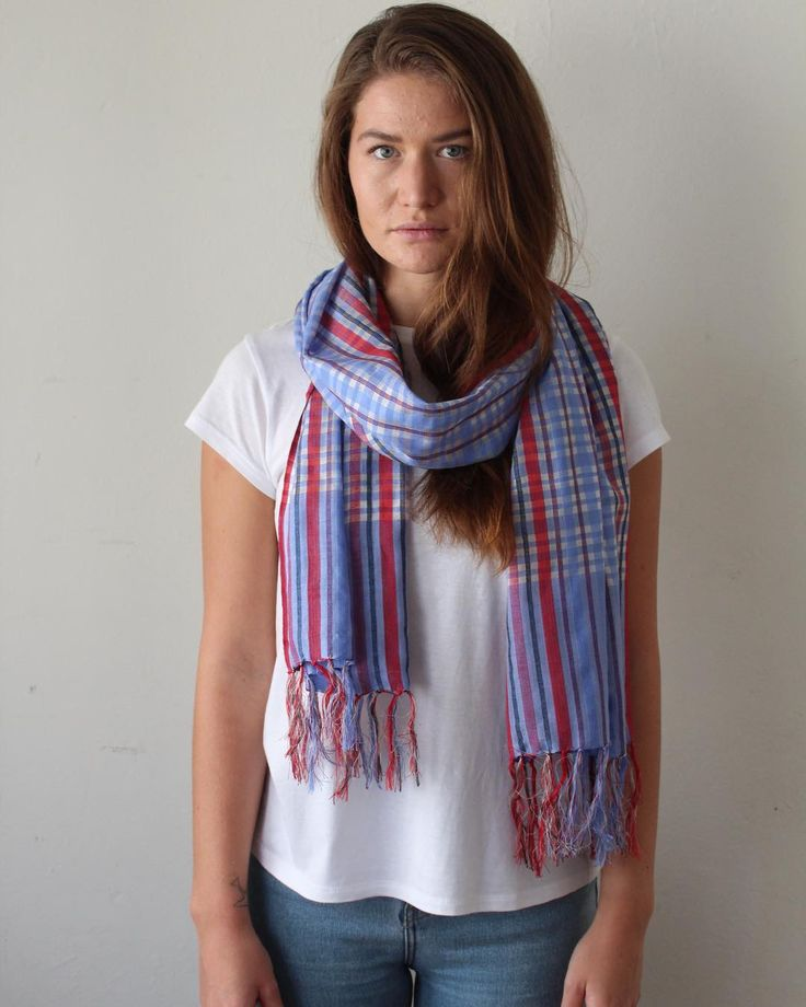 Carrie scarf in checkered Krama - Airy blue.  Fine silk cotton blend.  Traditionally and ethically made. #ES