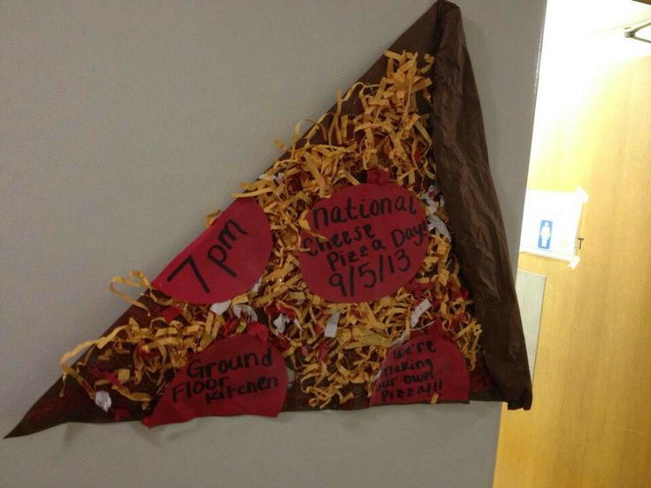 RA program ad. Giant pizza slice. This would also be cute as an apartment door dec