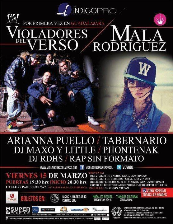 """Violadores del Verso, La Mala Rodríguez y más - 15 de Marzo @ Calle 2 Pabellón """"A"""" http://www.ka-volta.com/events/violadores-del-verso-la-mala-rodriguez-y-mas-15-de-marzo-calle-2-pabellon-a #Hiphop #Musica #Guadalajara #Mexico"""