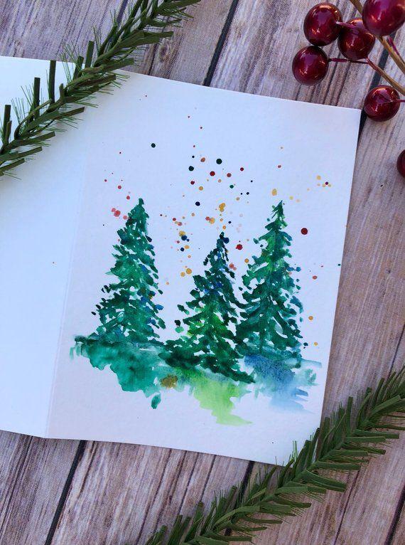 Новогодняя открытка углем нарисована
