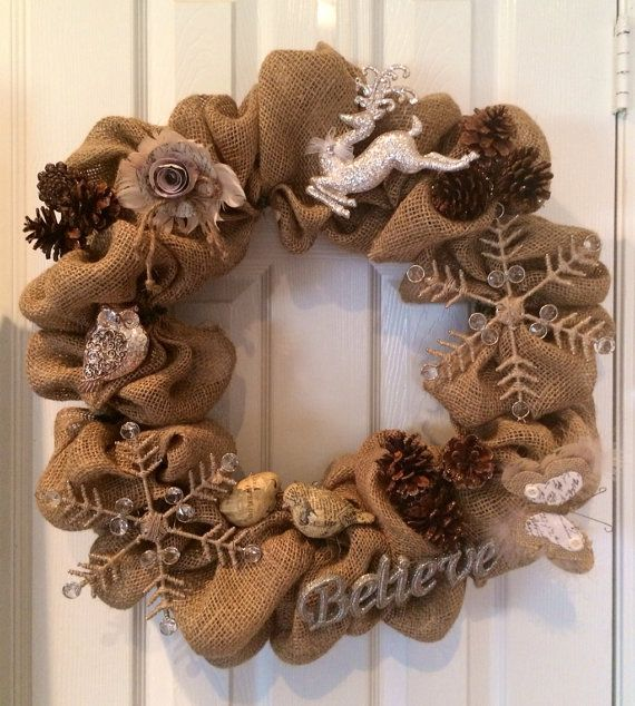 Rustic Vintage Christmas Burlap Wreath-Ready to Ship on Etsy, $75.00