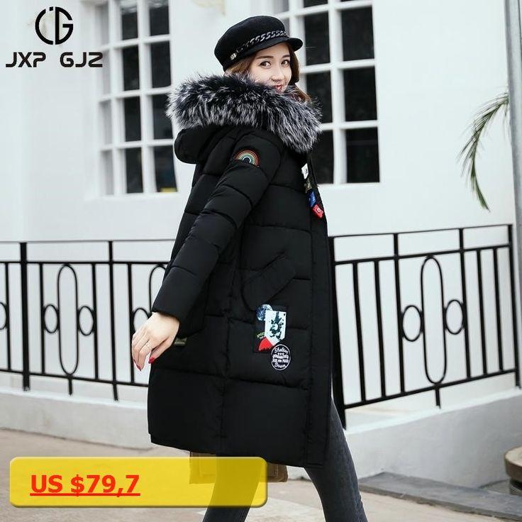 JXP GJZ Winter Women Jacket Coat Parka Black Zipper Full Sleeve Slim Thick Hooded Parkas Long Plus Size Parkas Femme 3XL XXL XL