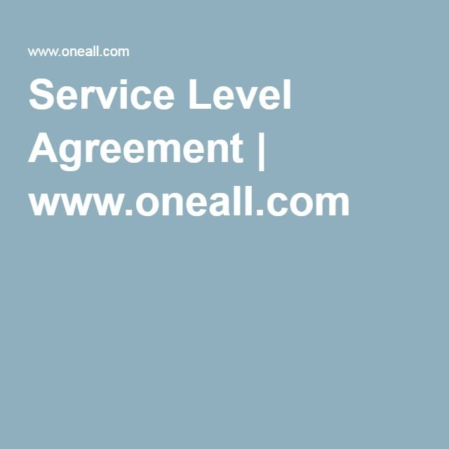 Service Level Agreement | www.oneall.com
