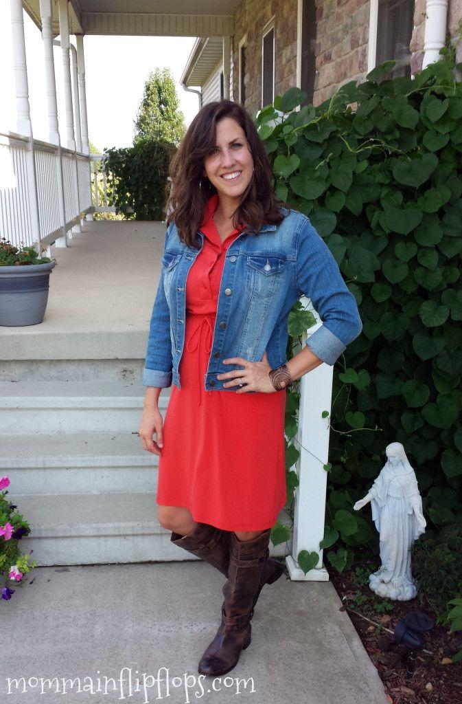 Tangerine Dress, Denim Jacket, Boots Outfit
