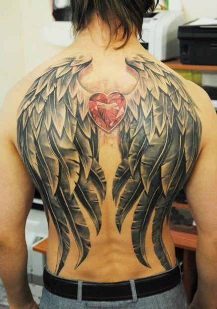 skrzydło na męskie plecy #skrzydło #serca.tatuażewzory