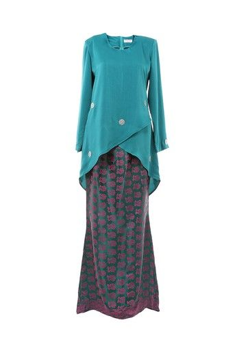 Women's Kurung Moden Dokoh Patch Emerald from MOTHER & CHILD in Green Modern design Kurung with Dokoh Patch nice cutting suitable for muslimah.Material used with 100% polyester with Traditional Songket / Flower Motif Skirt. ... #bajukurung #bajukurungmoden