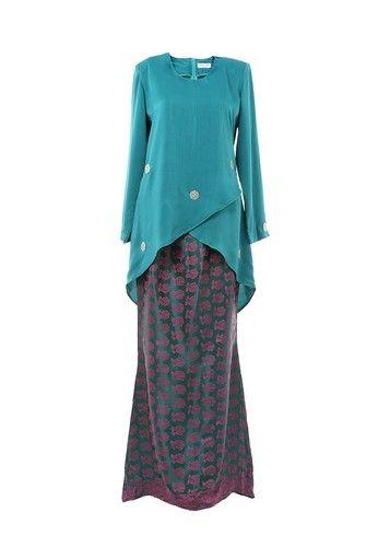 Baju Kurung : Women's Kurung Moden Dokoh Patch Emerald from MOTHER & CHILD in Green Modern des…