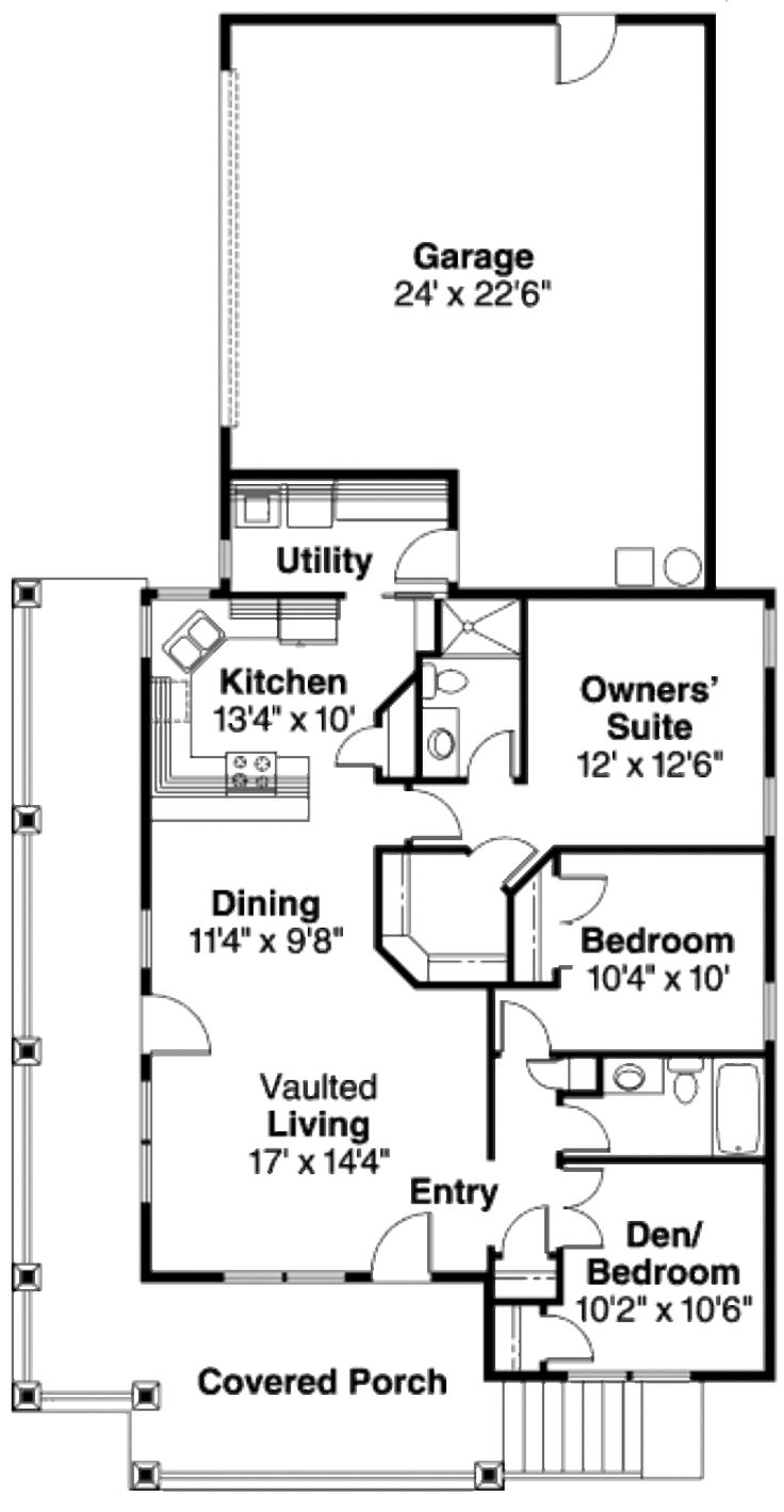 Craftsman Style House Plan - 3 Beds 2 Baths 1265 Sq/Ft Plan #124-617 Floor Plan - Main Floor Plan - Houseplans.com