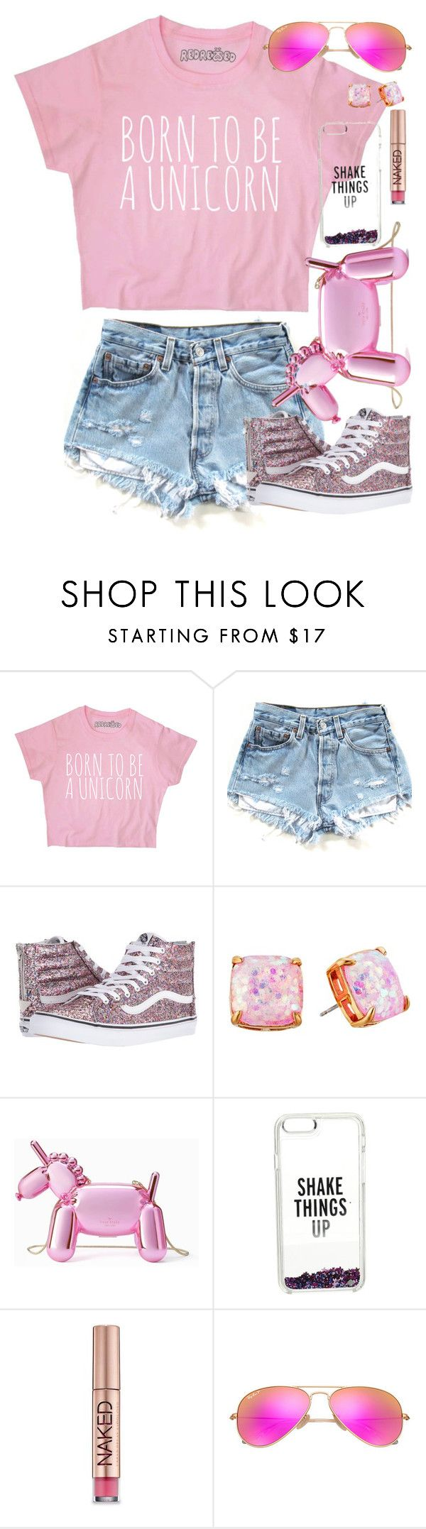 """unicorn"" by mcc782002 ❤ liked on Polyvore featuring Vans, Kate Spade, Urban Decay and Ray-Ban"