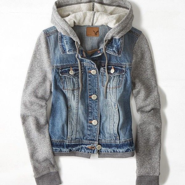 AEO Denim Vested Hoodie ($50) ❤ liked on Polyvore featuring outerwear, jackets, hoodies, tops and american eagle outfitters