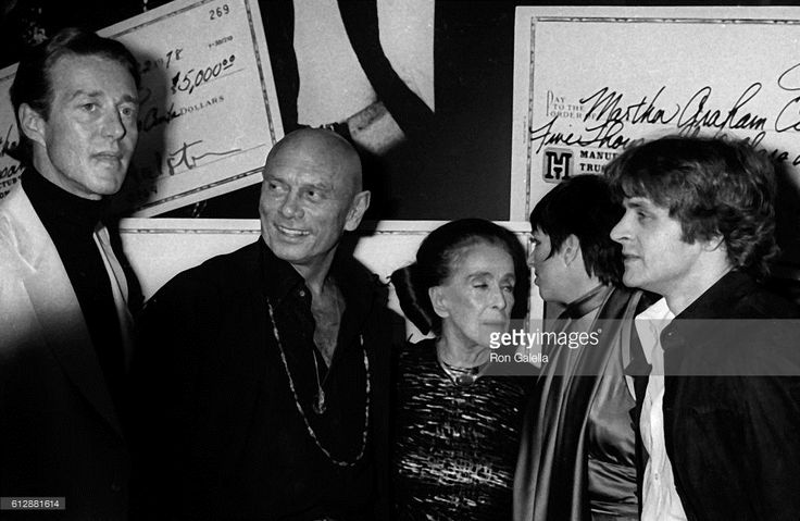 Halston, Yul Brynner, Martha Graham, Liza Minnelli and Mikhail Baryshnikov attend Martha Graham Benefit Party on June 22, 1978 at Studio 54 in New York City.