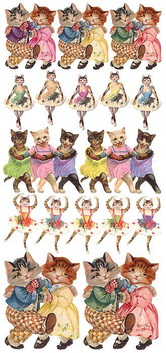 Dancing cat stickers for Easter crafting