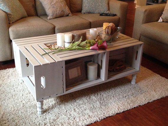 Shabby Chic Wine Crate Coffee Table by NotTooShabbyHome on Etsy