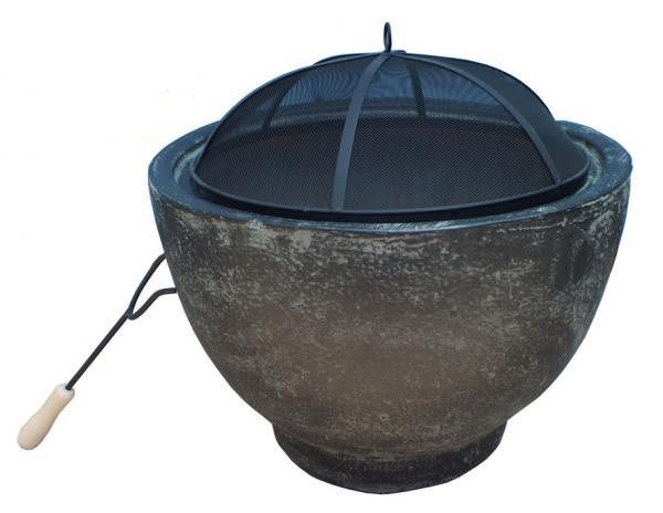 Granite Effect Clay Fire Pit and Spark Guard