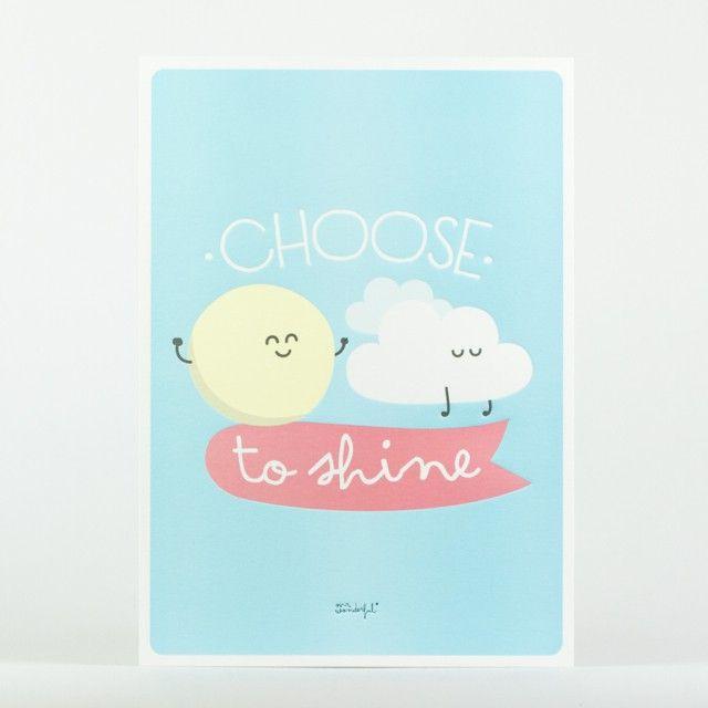 <p>Affiche Mr Wonderful en relief Choose to shine (choisis de briller), design MrWonderful. Pour embellir votre quotidien et décorer vos murs avec fantaisie et humour!! On aime son dessin graphique et ses couleurs pastels.</p>