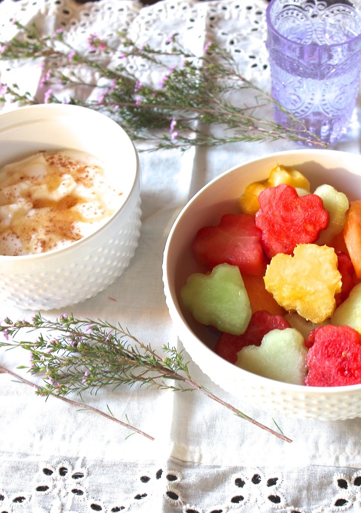 Heart Fruit Salad with Yogurt Dip