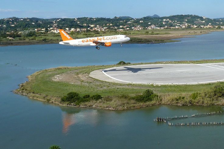 EasyJet Airplane Landing at Corfu Airport in Greece