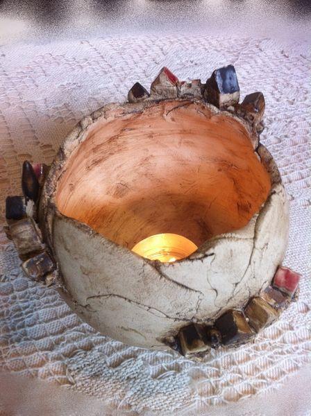 Keramik Häuserkugel Tischdeko von Keramik-Biene auf DaWanda.com