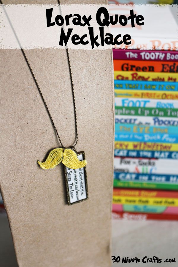 Lorax Mustache Quote Necklace