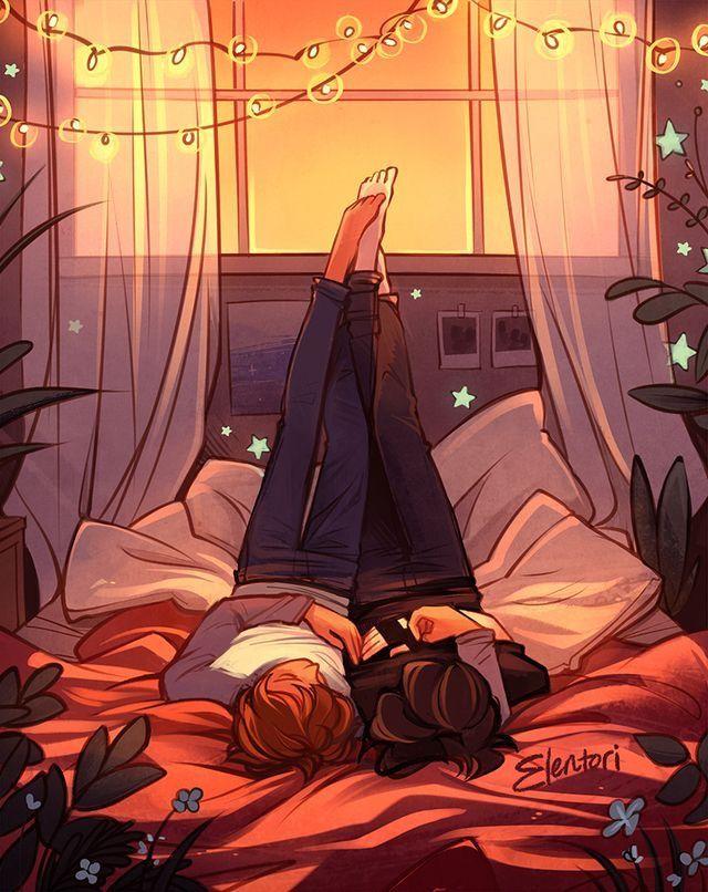 Девушка лежит на парне арты
