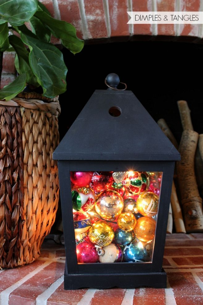Christmas Lantern Decoration Idea : Perfect for around the fireplace or entry way!