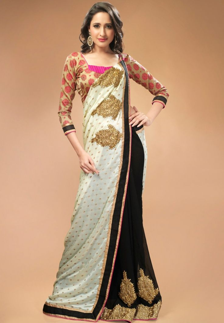 Black Embroidered Saree at $134.88 (35% OFF)