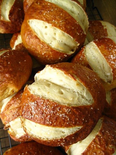 Homemade pretzel rolls.