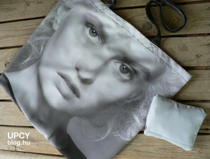 Öko szatyor, továbbhasznosított beltéri reklám molinó bevásárlótáska - upcycled eco friendly grocery bag, recycled inner flag