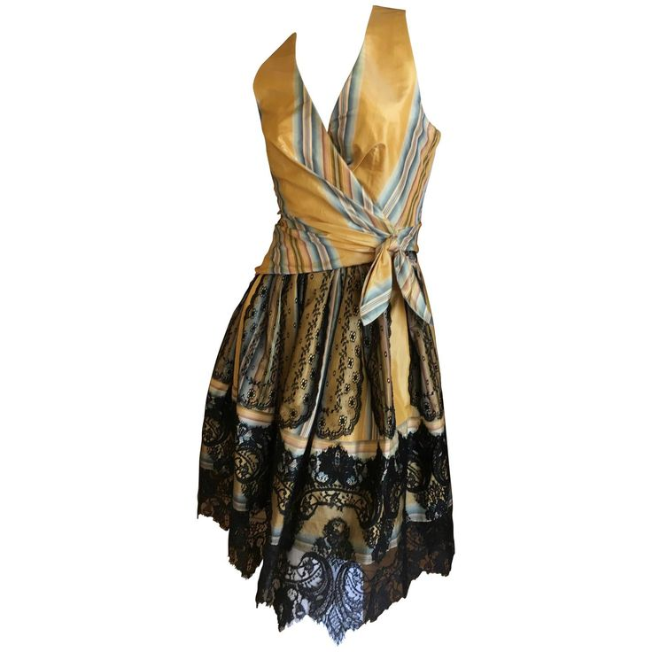 Christian Lacroix Charming Stripe Silk Summer Dress w Arlesian Lace Trim Skirt   From a collection of rare vintage day dresses at https://www.1stdibs.com/fashion/clothing/day-dresses/