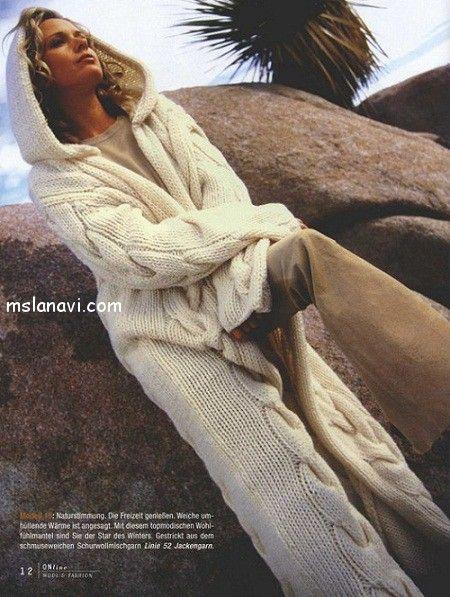 пальто спицами с капюшоном http://mslanavi.com/2013/12/dlinnoe-palto-s-kapyushonom/