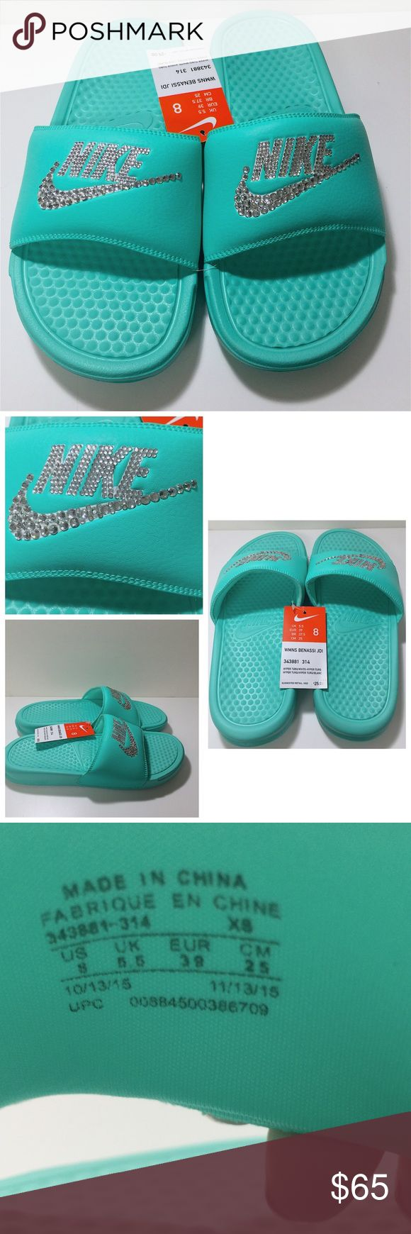 "SOLDBlinged Tiffany blue women's nike slides Blinged out Tiffany blue colored women's Benassi Jdi slides, size 8. NWT, never been worn. All jewels intact! Jewels on ""NIKE"" and the Nike swoosh. THESE ARE CUSTOM MADE, YOU CAN FIND THE NIKE SLIDES AT RETAILERS BUT YOU WILL NOT FIND ANY RETAILERS THAT SELL THEM WITH JEWELS APPLIED TO THEM. I spend hours analyzing and placing the jewels on. Do not low ball me offers on these, it is very insulting. Nike Shoes Sandals"