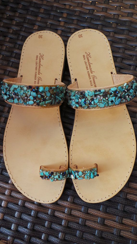 Greek leather sandals. Toe ring leather sandals. Turquoise leather flip flops. Summer sandals. Leather flats decorated with gemstone chips.