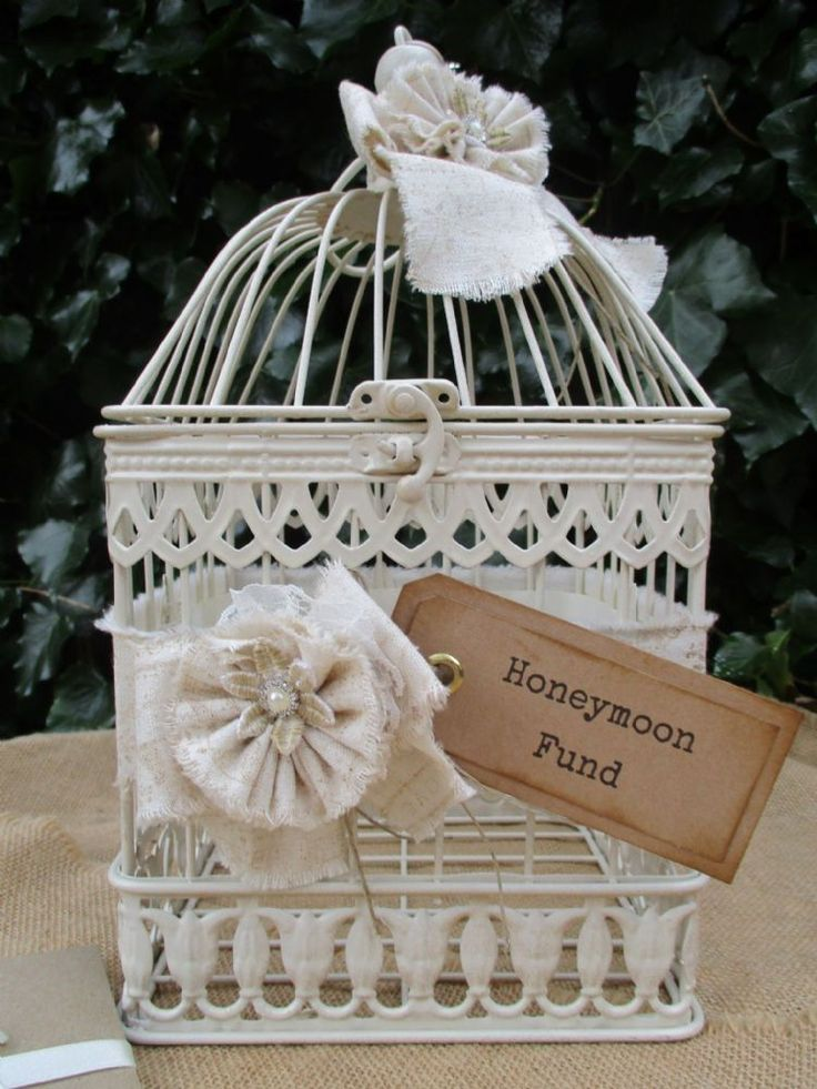 Honeymoon Fund Gift Card Holder Post Box Decorated with a