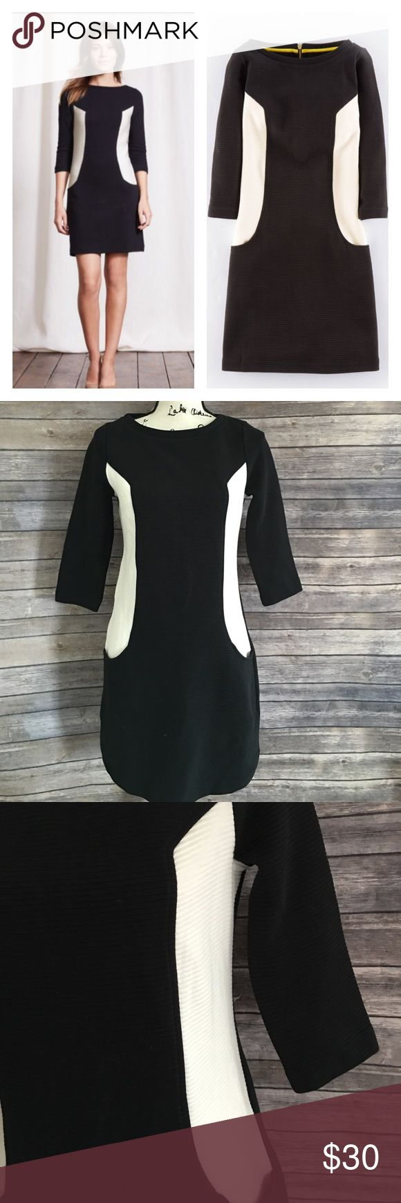 """Boden ottoman shift dress black/white Great pre loved condition. No holes or stains. Channel the Sixties with our textured Ponte shift. We've refined the fit this season so it's even more flattering. 100% cotton Length finishes at low thigh Machine washable Semi fitted shape ¾ length sleeves Textured medium weight jersey Unlined Zip detail at back Front pockets.  Measurements flat lay: bust 36"""", length 34"""". Boden Dresses Mini"""