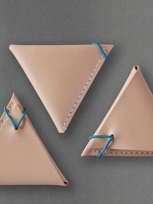 Kumosha's Leather Hand stitched Coin case triangle