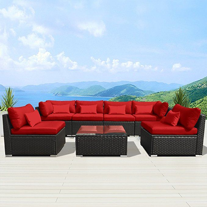 Amazon Com Modenzi 7g U Outdoor Sectional Patio Furniture Espresso Brown Wicker Sofa Set T Outdoor Sectional Furniture Sectional Patio Furniture Rustic Patio