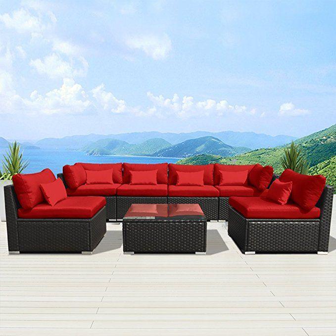 Amazon Com Modenzi 7g U Outdoor Sectional Patio Furniture Espresso Brown Wicker Sofa Set T Outdoor Sectional Furniture Sectional Patio Furniture Rustic Patio