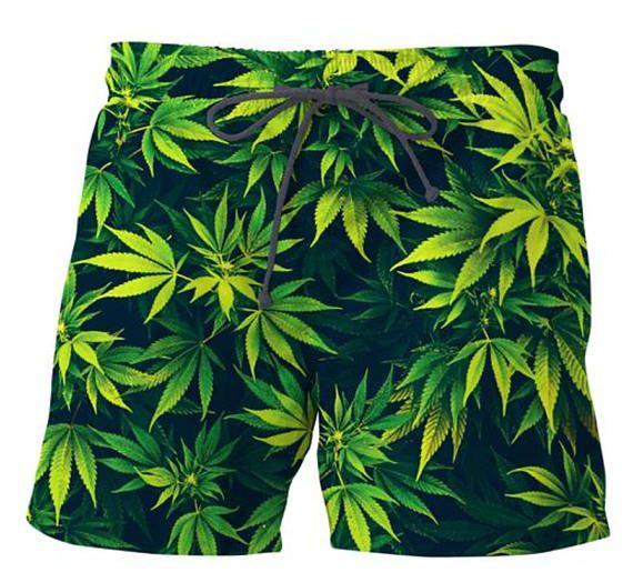 Weed 420 Swim Trunks Shorts Marijuana beach Polo Surf Fashion