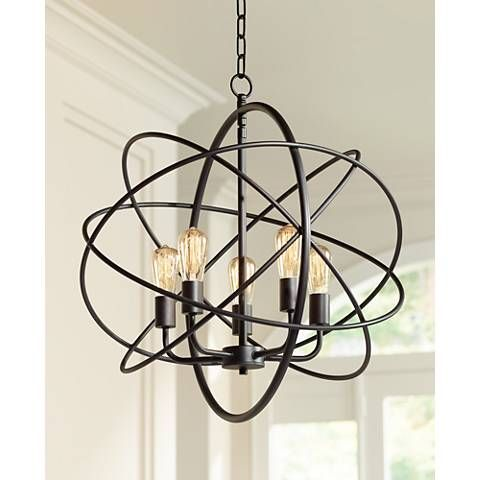 """Ellery 24 3/4"""" Wide 5-Light Bronze Sphere Foyer Pendant    Tony Said He likes the sphere but not the edison bulbs.  Not possible please help"""