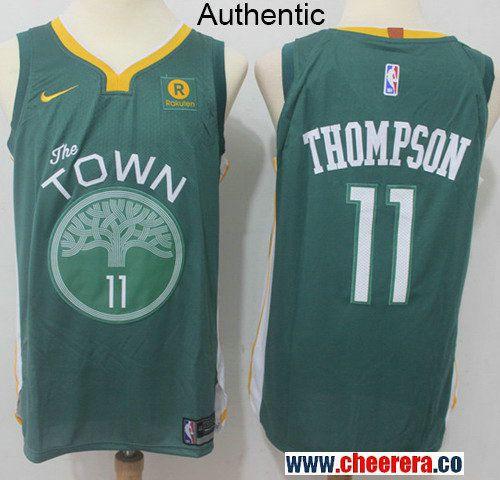 Men s Nike Golden State Warriors  11 Klay Thompson Green NBA Authentic  Jersey 37b3d8d1d