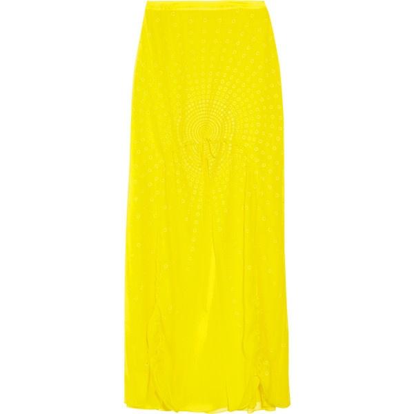 Vera Wang Drawstring silk-chiffon maxi skirt ($975) ❤ liked on Polyvore