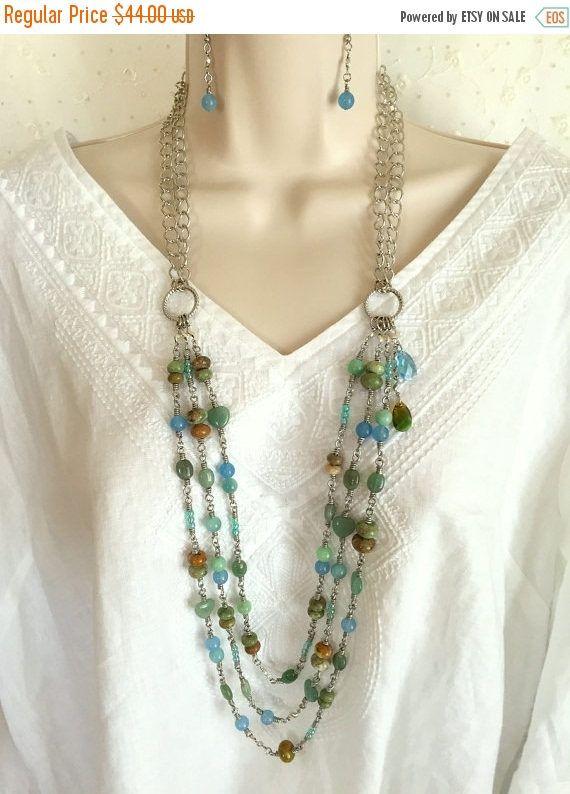 10% off Gemstone Necklace set Gift for her 3 strand