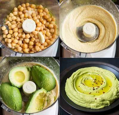 El hummus es básicamente una crema de garbanzos hecha con aceite de oliva, zumo de limón y tahina (crema de sésamo). En esta ocasión se añade un ingrediente más, el aguacate, por lo que se consigu…