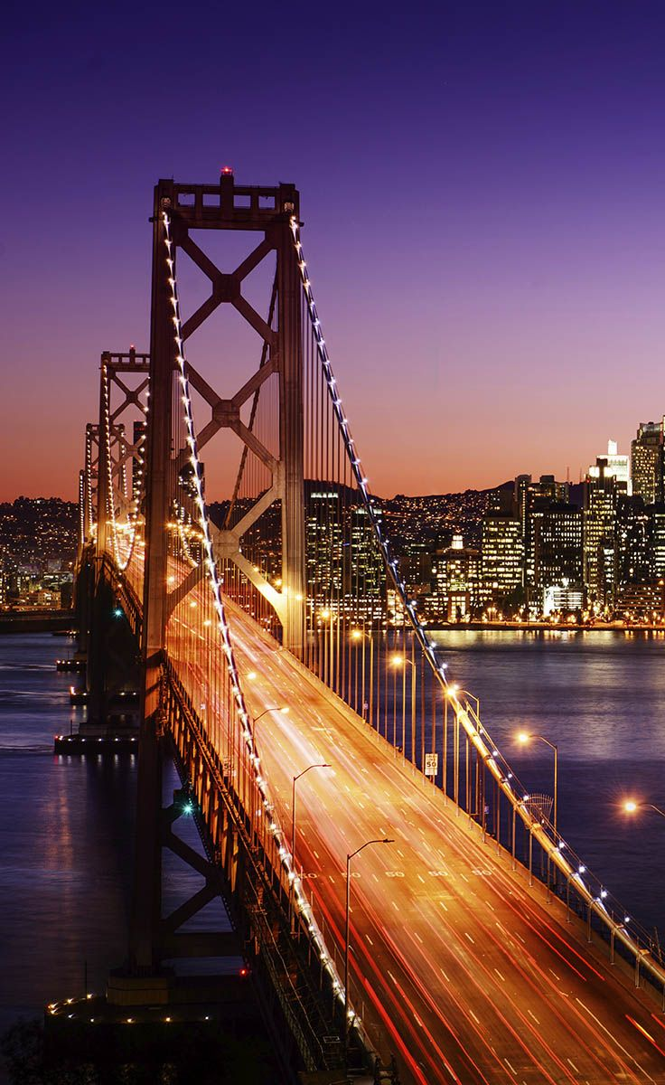 California Itinerary and Travel Guide: The San Francisco skyline and Bay Bridge at sunset.