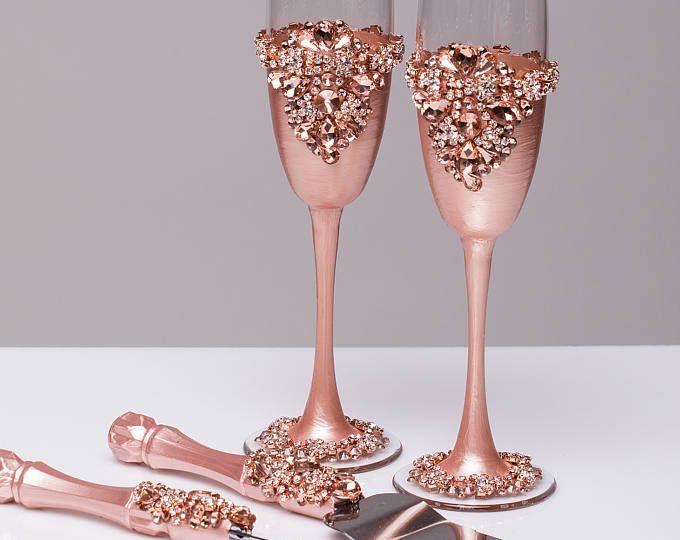 ROSE GOLD boda vasos y cuchillo de la torta de conjunto de servidor de pastel rosa a Oro novia y novio boda tostado flautas boda flautas pastel juego, juego de 4