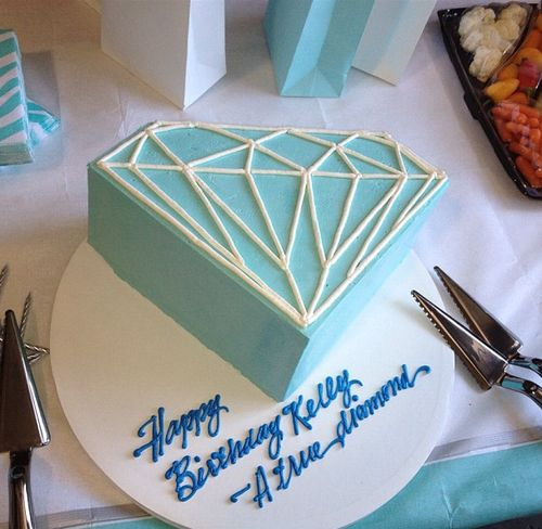 Diamond birthday cake. These are the sharpest edges on a cake I've ever seen.