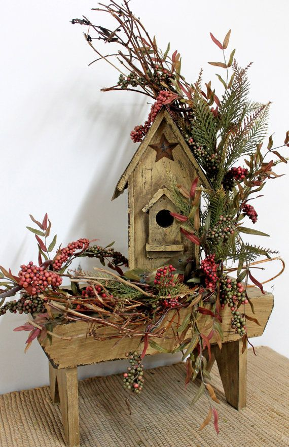 Fall Decor, Country Floral, Birdhouse Bench, Rustic Floral Decor, Country Centerpiece, Primitive Arrangement, Yard Decor -- FREE SHIPPING