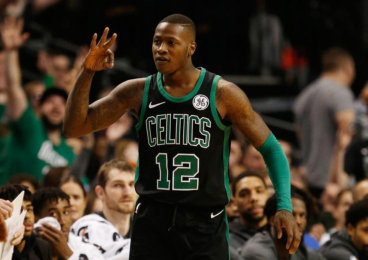 Boston, MA -- 12/31/2017 - Celtics Terry Rozier III celebrates his three pointer against the Nets during the first half at TD Garden. (Jessica Rinaldi/Globe Staff) Topic: Reporter: